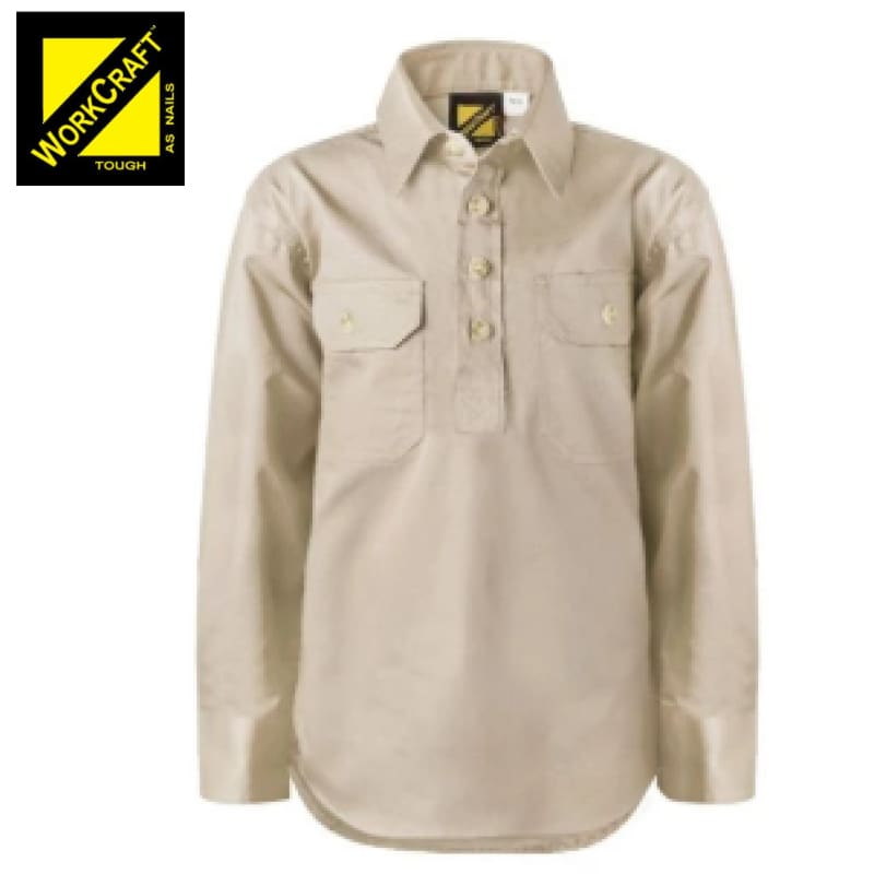 Workcraft Kids Shirt Cotton Drill L/sleeve With Buttons Cream Workwear