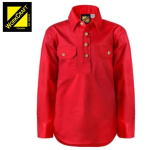 Workcraft Kids Shirt Cotton Drill L/sleeve With Buttons Crimson Red Workwear