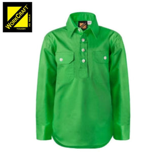 Workcraft Kids Shirt Cotton Drill L/sleeve With Buttons Electric Green Workwear