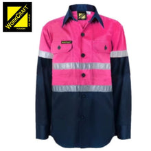 Load image into Gallery viewer, Workcraft Kids Shirt L/sleeve Cotton Drill Csr Reflective Tape Pink/navy Workwear