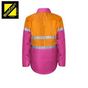 Workcraft Kids Shirt L/sleeve Cotton Drill Csr Reflective Tape Pink/orange Workwear