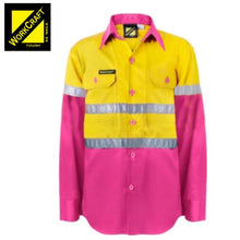 Load image into Gallery viewer, Workcraft Kids Shirt L/sleeve Cotton Drill Csr Reflective Tape Pink/yellow Workwear