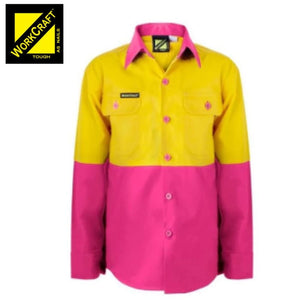 Workcraft Kids Shirt L/sleeve Cotton Drill Pink/yellow Workwear