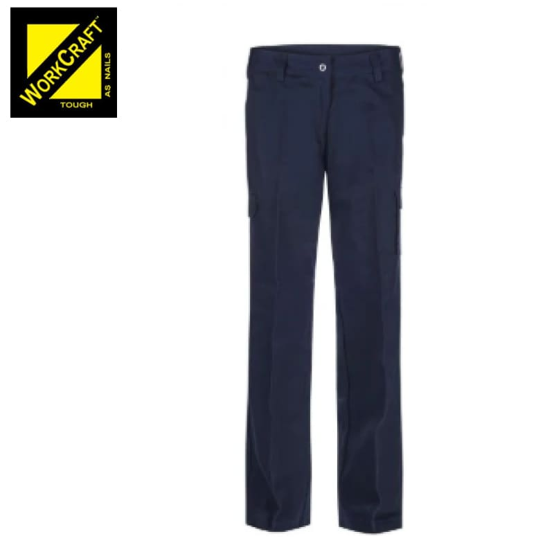 Workcraft Ladies Cargo Trousers Cotton Drill Navy Workwear