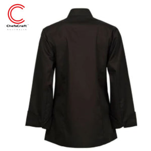 Workcraft Ladies Jacket Executive Chef Light Weight L/sleeve Black Workwear