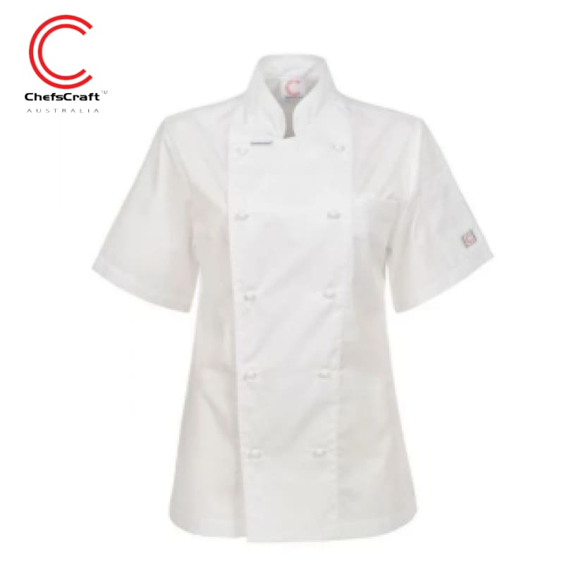 Workcraft Ladies Jacket Executive Chef Light Weight S/sleeve White Workwear