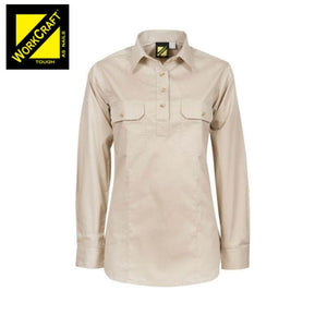 Workcraft Ladies Shirt Lightweight L/sleeve Half Placket Cotton Drill Cream Workwear