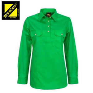 Workcraft Ladies Shirt Lightweight L/sleeve Half Placket Cotton Drill Electric Green Workwear