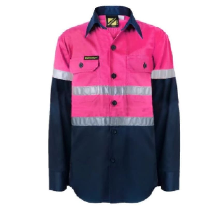 Workcraft Ladies Shirt L/sleeve Hi Vis Two Tone Vented Cotton Drill Night Use Only P/navy Workwear