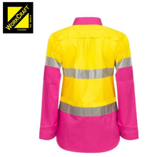 Load image into Gallery viewer, Workcraft Ladies Shirt L/sleeve Hi Vis Two Tone Vented Cotton Drill R/tape P/yellow Workwear