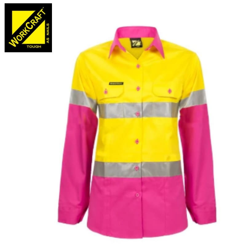 Workcraft Ladies Shirt L/sleeve Hi Vis Two Tone Vented Cotton Drill R/tape P/yellow Workwear