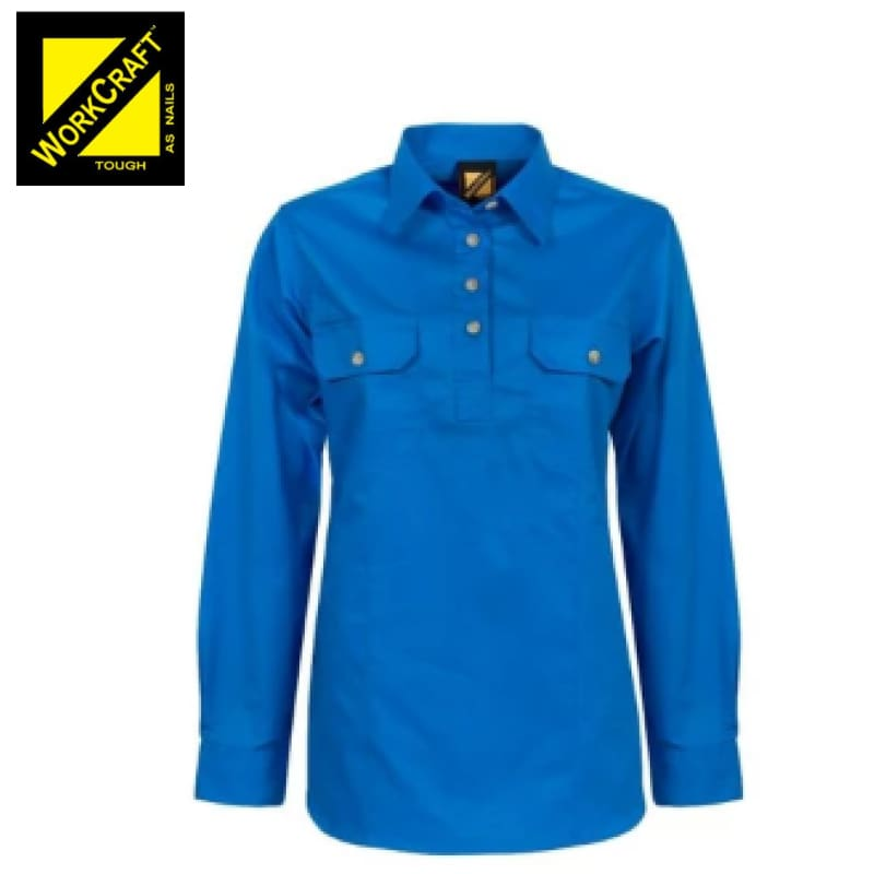 Workcraft Ladies Shirt L/sleeve Lightweight Cotton Drill Half Placket Cobalt Blue Workwear