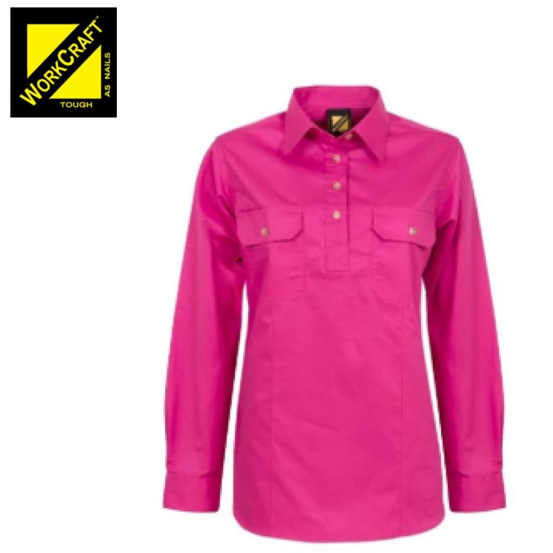 Workcraft Ladies Shirt L/sleeve Lightweight Cotton Drill Half Placket Pink Workwear