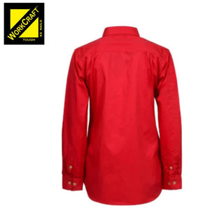 Workcraft Ladies Shirt L/sleeve Lightweight Cotton Drill Half Placket Red Workwear