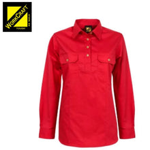 Load image into Gallery viewer, Workcraft Ladies Shirt L/sleeve Lightweight Cotton Drill Half Placket Red Workwear