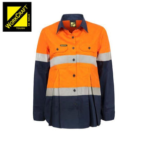 Workcraft Maternity Cotton Drill Shirt L/sleeve Vented Csr Reflective Tape O/navy Workwear