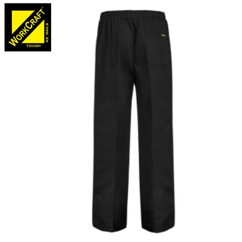Workcraft Pants Elastic Drawstring Unisex Black Workwear