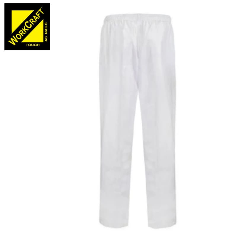 Workcraft Pants Elastic Drawstring Unisex White Workwear