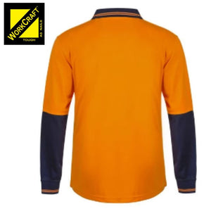 Workcraft Polo Food Industry Hi Vis L/sleeve Micromesh No Pockets Or Buttons Orange/navy Workwear