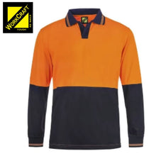 Load image into Gallery viewer, Workcraft Polo Food Industry Hi Vis L/sleeve Micromesh No Pockets Or Buttons Orange/navy Workwear