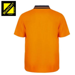 Workcraft Polo Food Industry Hi Vis S/sleeve Micromesh No Pockets Or Buttons Orange/navy Workwear