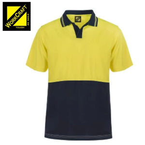 Workcraft Polo Food Industry Hi Vis S/sleeve Micromesh No Pockets Or Buttons Yellow/navy Workwear