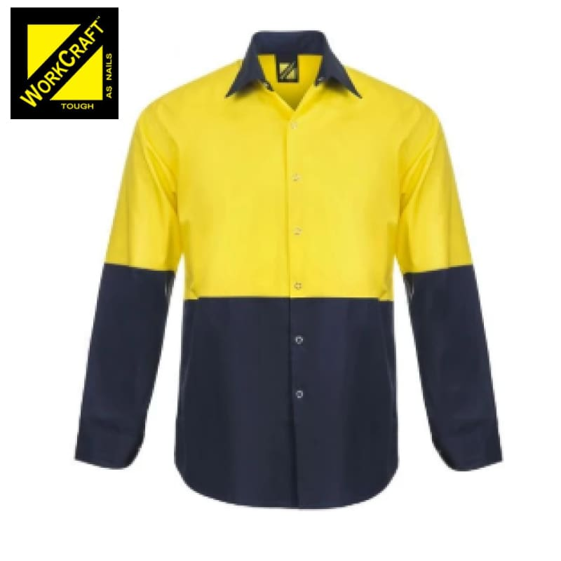 Workcraft Shirt Hi Vis L/sleeve Cotton Drill Vented With Press Studs No Pockets Yellow/navy Workwear