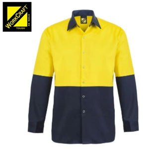 Workcraft Shirt Hi Vis L/sleeve Cotton Drill With Press Studs No Pockets Yellow/navy Workwear