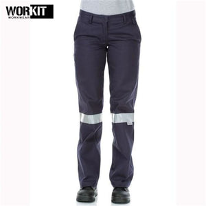 Workit - Ladies Cotton Drill Work Pants Tape Navy Workwear