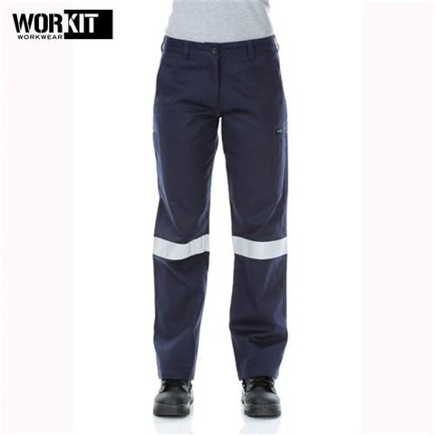 Workit - Ladies Pant Lightweight Cotton Drill Cargo Multi Pocket Tape Navy Workwear