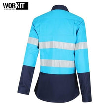 Load image into Gallery viewer, Workit - Ladies Shirt Lightweight Cotton Drill Tape Sky Blue/navy Workwear