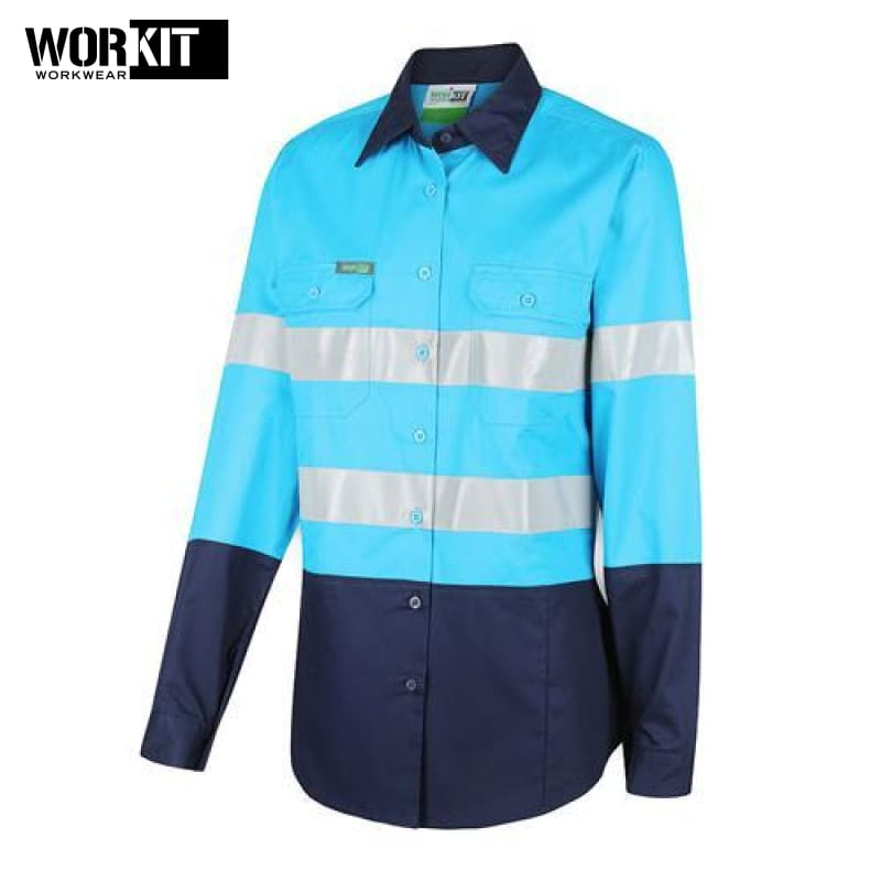 Workit - Ladies Shirt Lightweight Cotton Drill Tape Sky Blue/navy Workwear