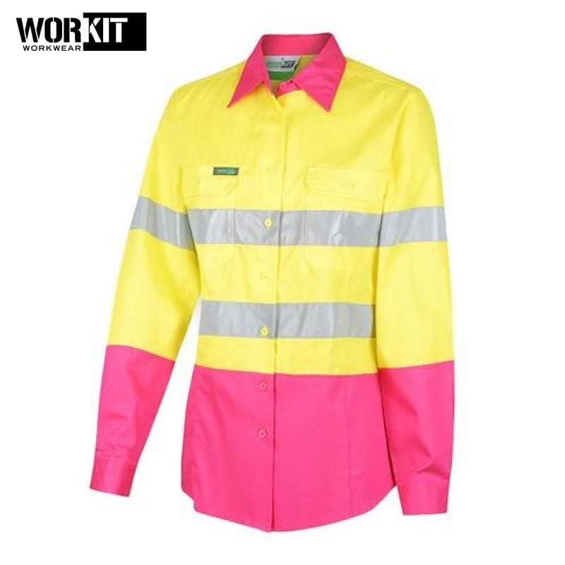 Workit - Ladies Shirt Lightweight Cotton Drill Tape Yellow/pink Workwear