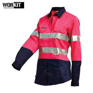 Workit - Ladies Shirt Lightweight Ripstop Perf Tape Pink/navy Workwear