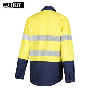 Workit - Ladies Shirt Lightweight Ripstop Perf Tape Yellow/navy Workwear