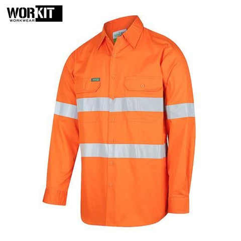 Workit - Shirt Light Cotton Drill Vented Tape Orange Workwear