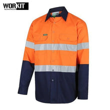 Load image into Gallery viewer, Workit - Shirt Light Cotton Drill Vented Tape Orange/navy Workwear