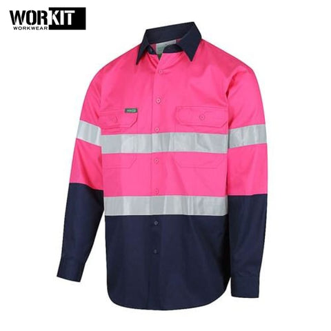 Workit - Shirt Light Cotton Drill Vented Tape Pink/navy Workwear
