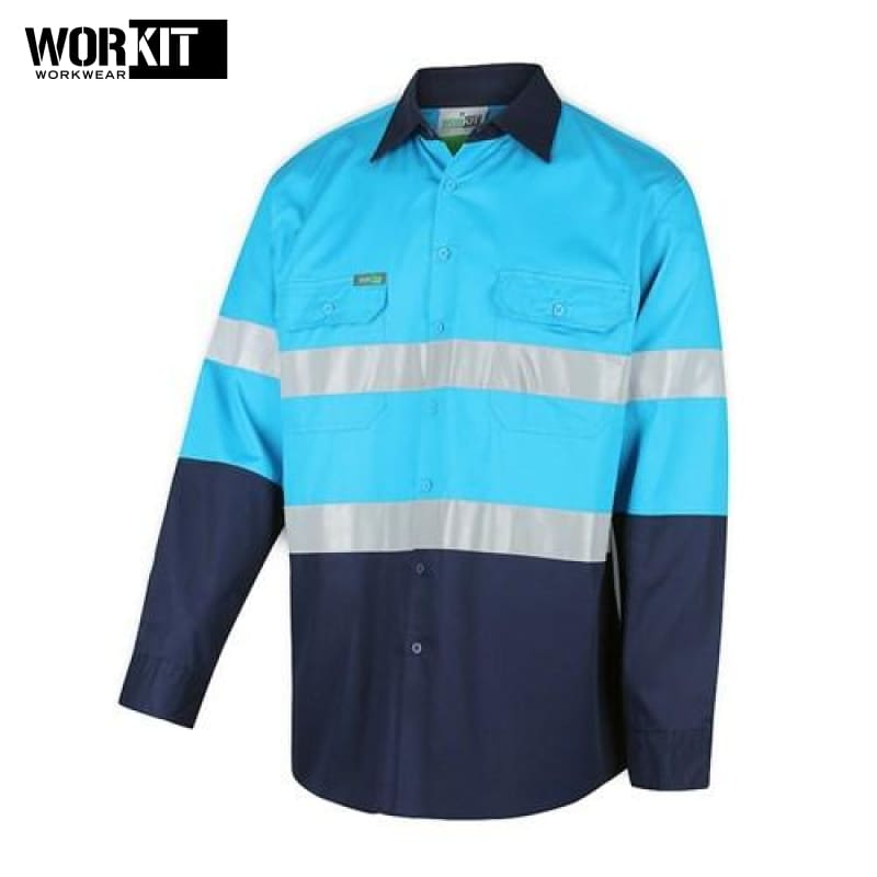 Workit - Shirt Light Cotton Drill Vented Tape Sky Blue/navy Workwear