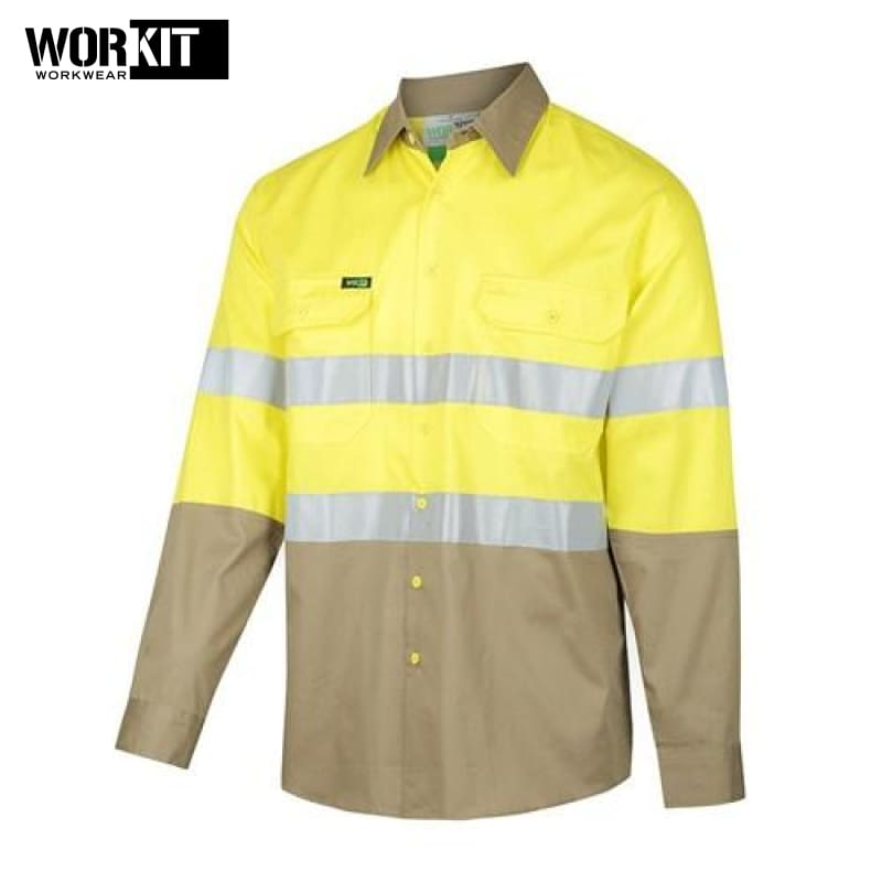 Workit - Shirt Light Cotton Drill Vented Tape Yellow/khaki Workwear