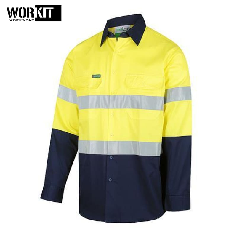 Workit - Shirt Light Cotton Drill Vented Tape Yellow/navy Workwear