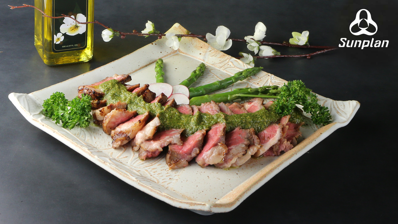 Grilled Steak with Camellia Oil Salsa