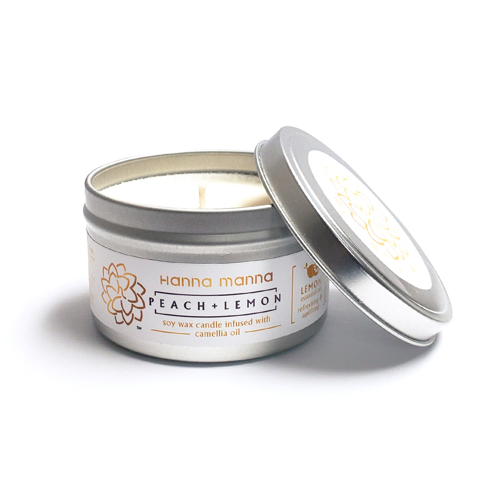 Hanna Manna Peach + Lemon Soy Wax Candle infused with Camellia Oil
