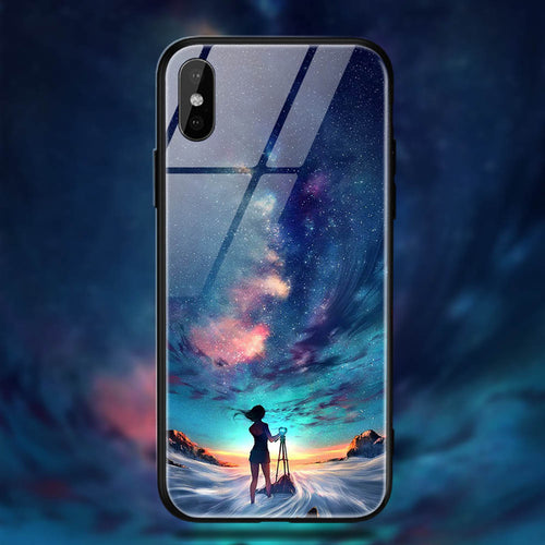 Space Tempered Glass iPhone XS Case