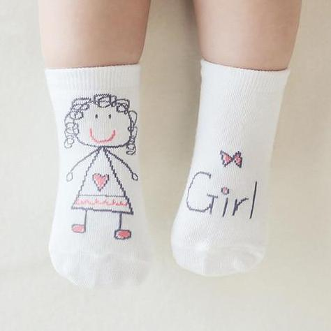 Baby Girl Hand Drawn Socks - Okiedokee Children's Boutique Kids Fashion Baby Clothes Cool Children's Clothing