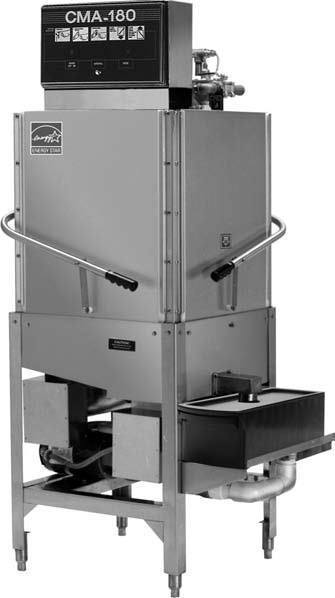CMA Dishmachines CMA-180CB 60 Rack/Hr 2 Door Type Dishwasher, High Temperature Sanitizing, Single Rack w/ Booster Heater