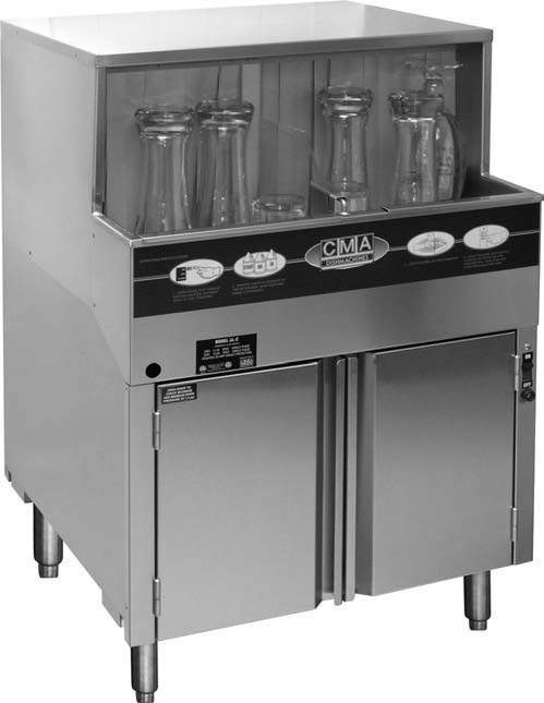 CMA Dishmachines GW-100 1000 Glasses/Hr Undercounter Glass Washer, Low Temperature Chemical Sanitizing
