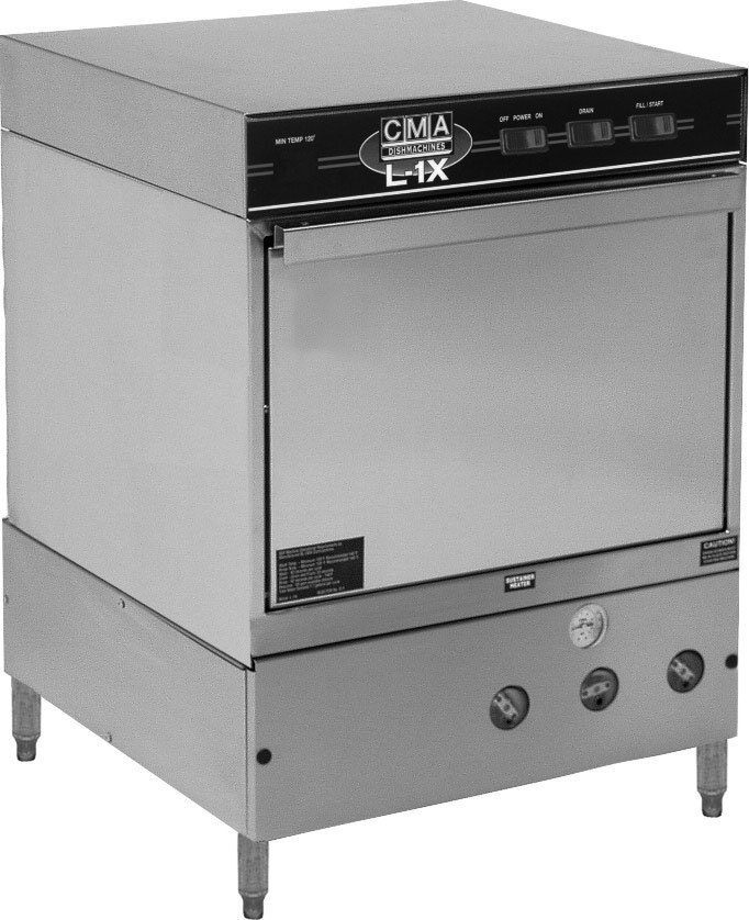 CMA Dishmachines L-1X w/ Htr 30 Rack/Hr Undercounter Dishwasher, Low Temperature Chemical Sanitizing w/ Sustainer Heater
