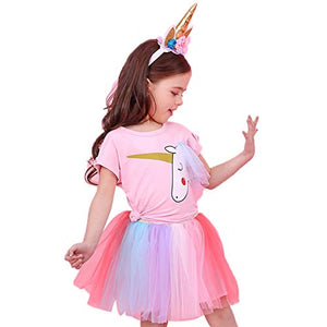 d0561e6137a2 Freshmarque 2PCS Set Baby Girl Unicorn T-Shirt Tops with Colorful Tutu Lace  Skirt Costume