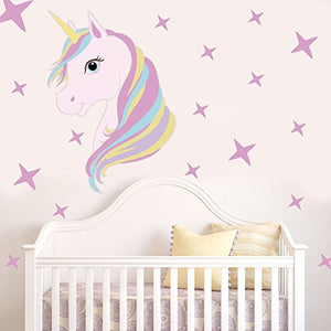 ChezMax Pink Unicorn Wall Sticker DIY Removable PVC Wall Decals Decorative  Wall Mural Wallpaper for Kids Room 14 2
